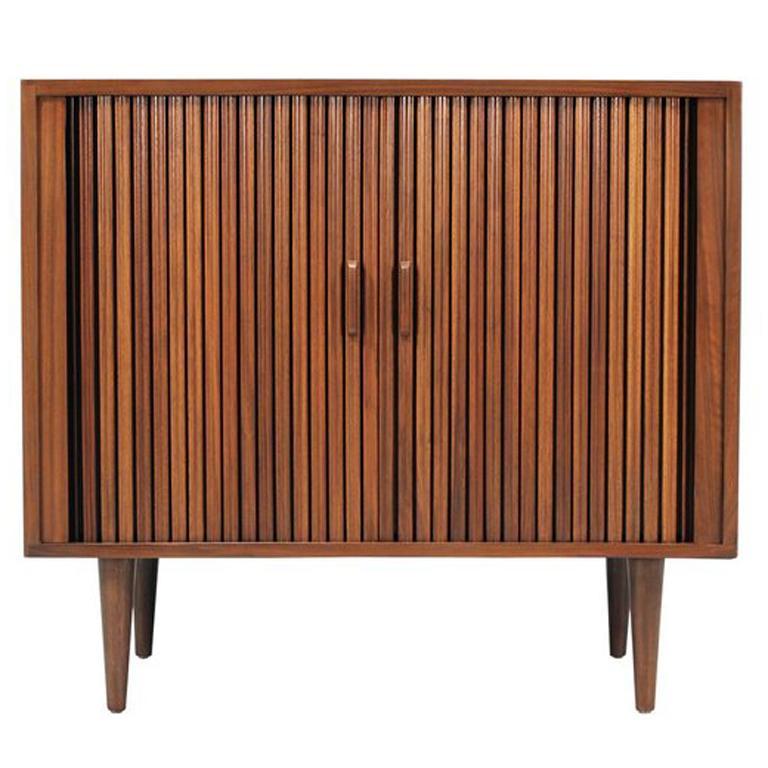 Mid Century Modern Tambour Door Cabinet At 1stdibs