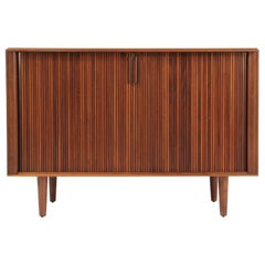 Mid-Century Modern Tambour-Door Walnut Crecenzat by Barzilay