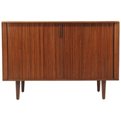 Mid-Century Modern Tambour-Door Walnut Credenza by Barzilay