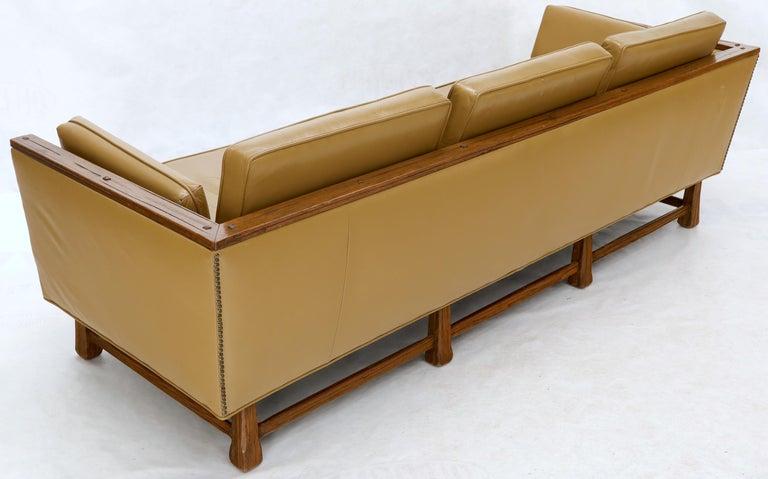 American Mid-Century Modern Tan Leather Oak Frame Sofa by Ranch Oak For Sale