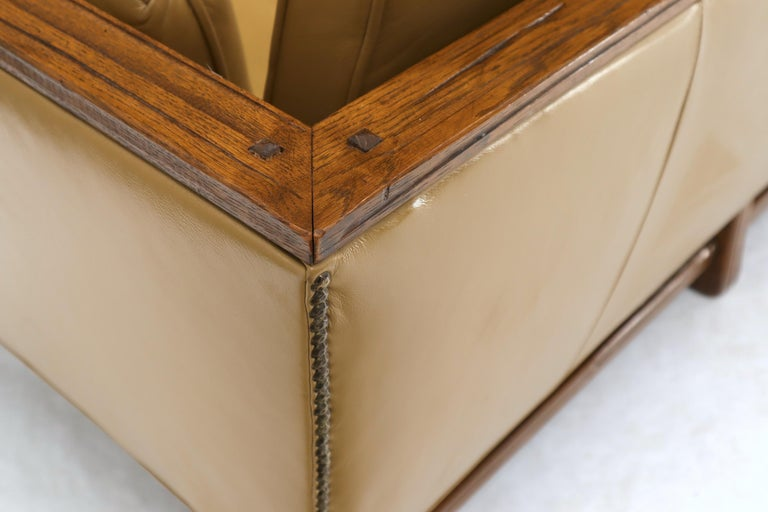 Mid-Century Modern Tan Leather Oak Frame Sofa by Ranch Oak For Sale 6