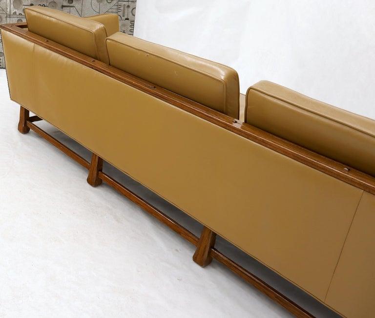 Mid-Century Modern Tan Leather Oak Frame Sofa by Ranch Oak For Sale 7