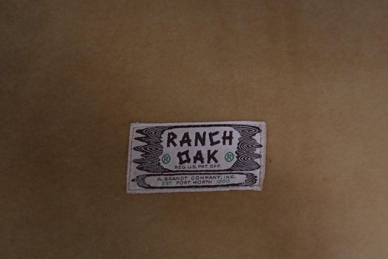 Mid-Century Modern Tan Leather Oak Frame Sofa by Ranch Oak For Sale 8