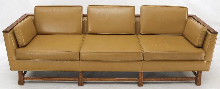 20th Century Mid-Century Modern Tan Leather Oak Frame Sofa by Ranch Oak For Sale