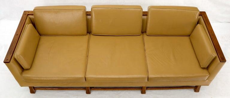 Mid-Century Modern Tan Leather Oak Frame Sofa by Ranch Oak For Sale 1