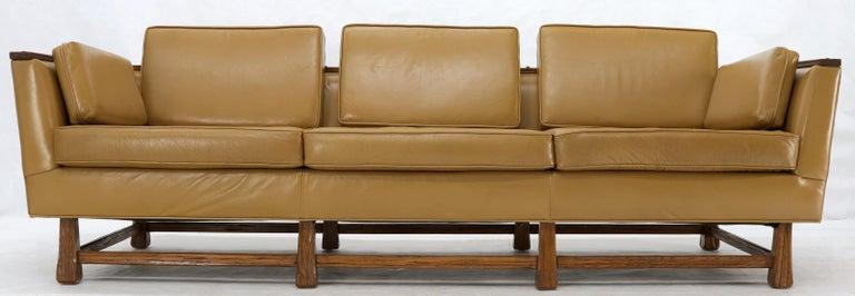 Mid-Century Modern Tan Leather Oak Frame Sofa by Ranch Oak In Excellent Condition For Sale In Rockaway, NJ