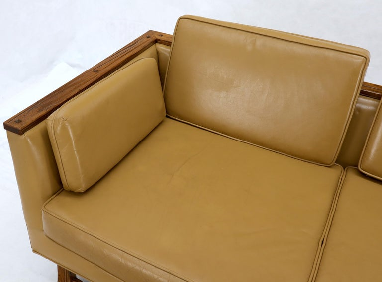Mid-Century Modern Tan Leather Oak Frame Sofa by Ranch Oak For Sale 2