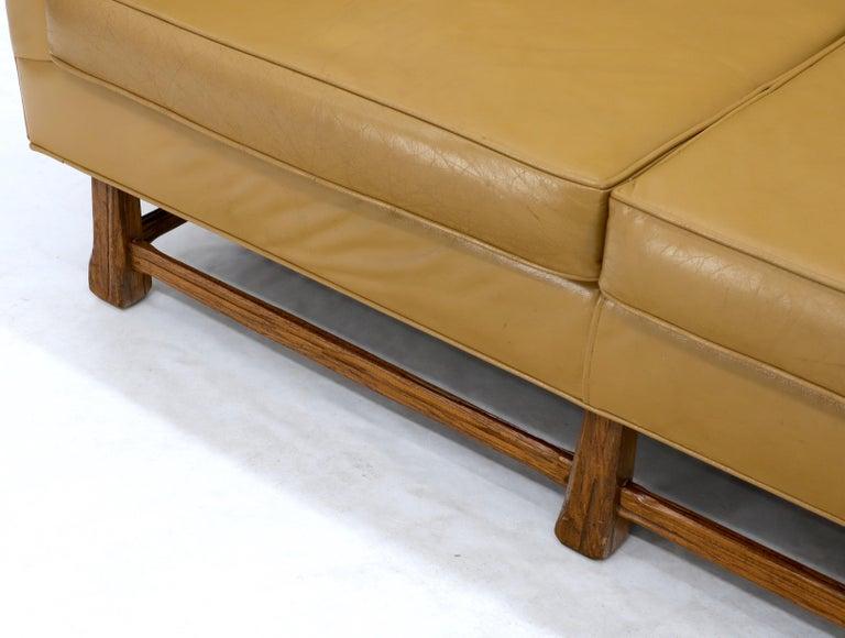 Mid-Century Modern Tan Leather Oak Frame Sofa by Ranch Oak For Sale 3