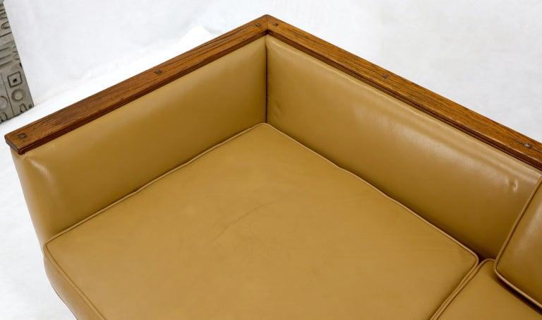 Mid-Century Modern Tan Leather Oak Frame Sofa by Ranch Oak For Sale 4