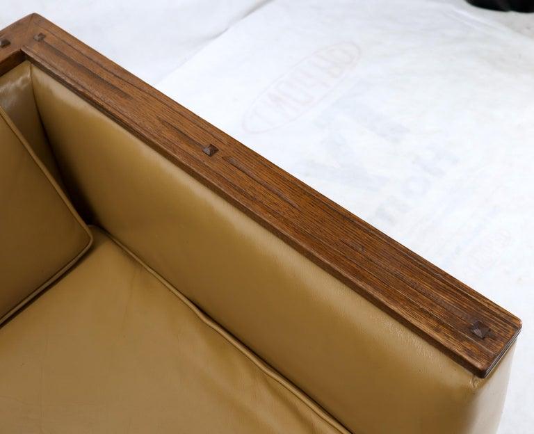Mid-Century Modern Tan Leather Oak Frame Sofa by Ranch Oak For Sale 5