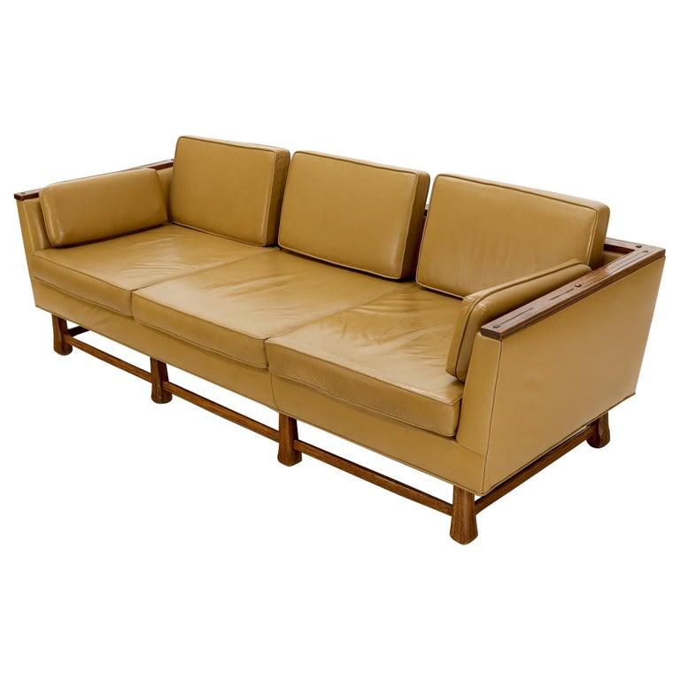 Mid-Century Modern Tan Leather Oak Frame Sofa by Ranch Oak ...