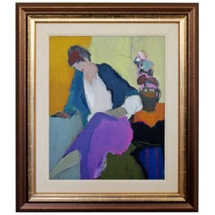 Mid-Century Modern Tarkay Framed Orig Acrylic Painting Women N Purple in Thought