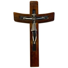 Mid-Century Modern Taxco Sterling and Mahogany Crucifix