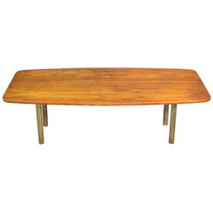Mid-Century Modern Teak and Brass Hugo Troeds Swedish Coffee Table, circa 1950