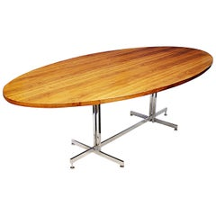Mid-Century Modern Teak and Chrome Dining Conference Table Desk by Hugh Acton