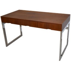 Mid-Century Modern Teak and Chrome Three-Drawer Desk
