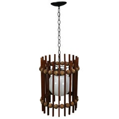 Mid-Century Modern Teak and Cork Ball and Slat Cylinder Pendant Light