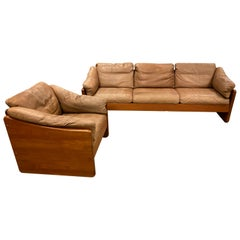Mid-Century Modern Teak and Leather Sofa and Chair Set, 1970s
