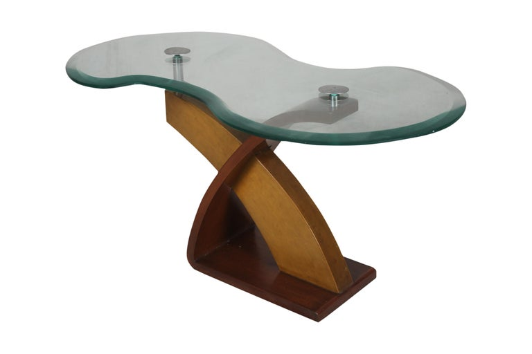 Mid-Century Modern Teak and Mahogany Side or Coffee Table with Smoked Glass In Good Condition For Sale In Nantucket, MA
