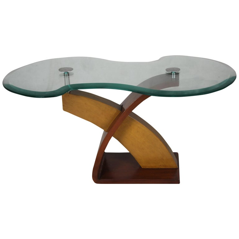 Mid-Century Modern Teak and Mahogany Side or Coffee Table with Smoked Glass For Sale