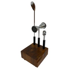 Mid-Century Modern Teak and Steel Cocktail Mixing Set, Signed by Ernest Sohn