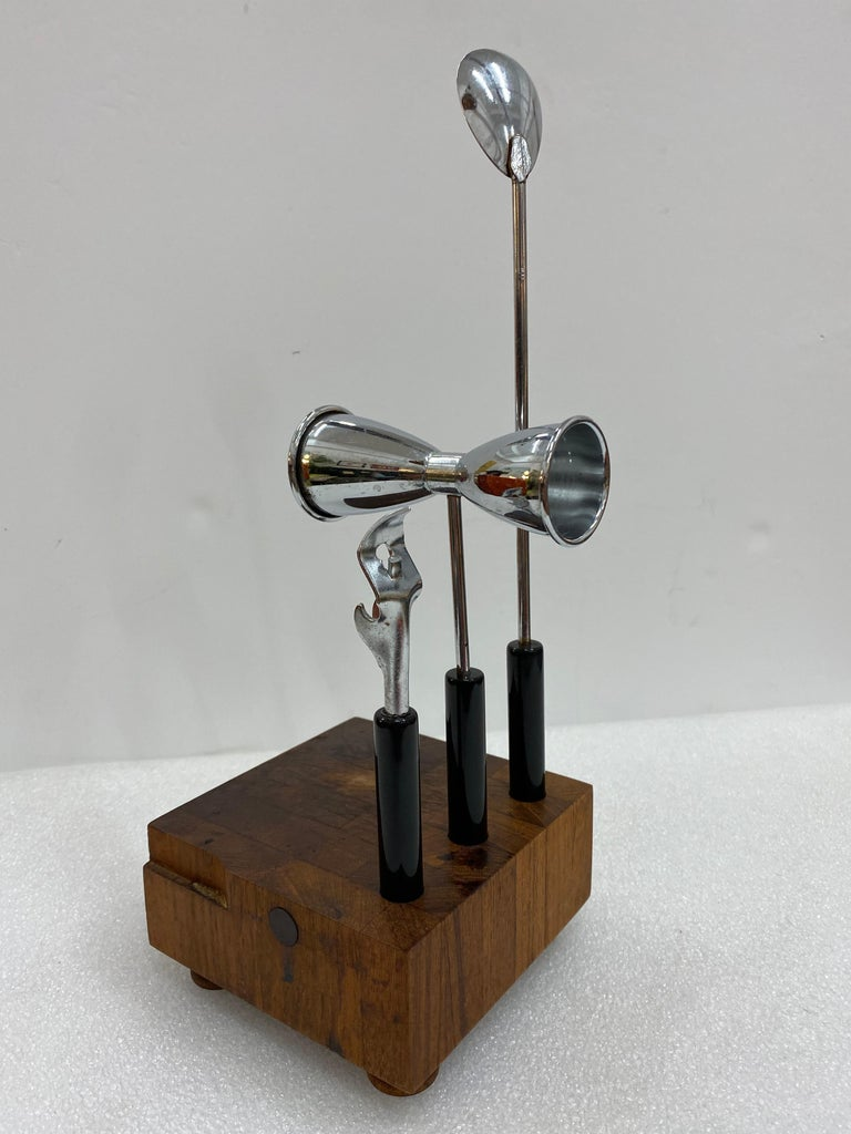Mid-Century Modern Teak and Steel Cocktail Mixing Set, Signed by Ernest Sohn For Sale 7