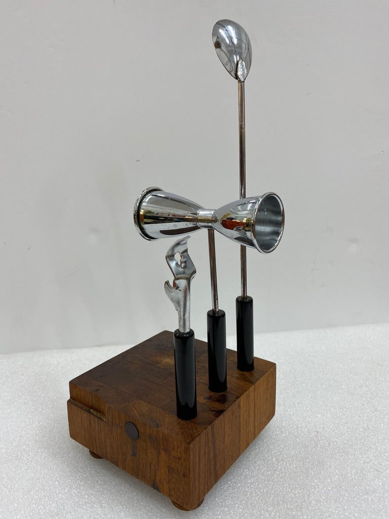 Mid-Century Modern Teak and Steel Cocktail Mixing Set, Signed by Ernest Sohn In Good Condition For Sale In Haddonfield, NJ