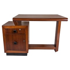 Mid-Century Modern Teak Desk with Ebonized Accents
