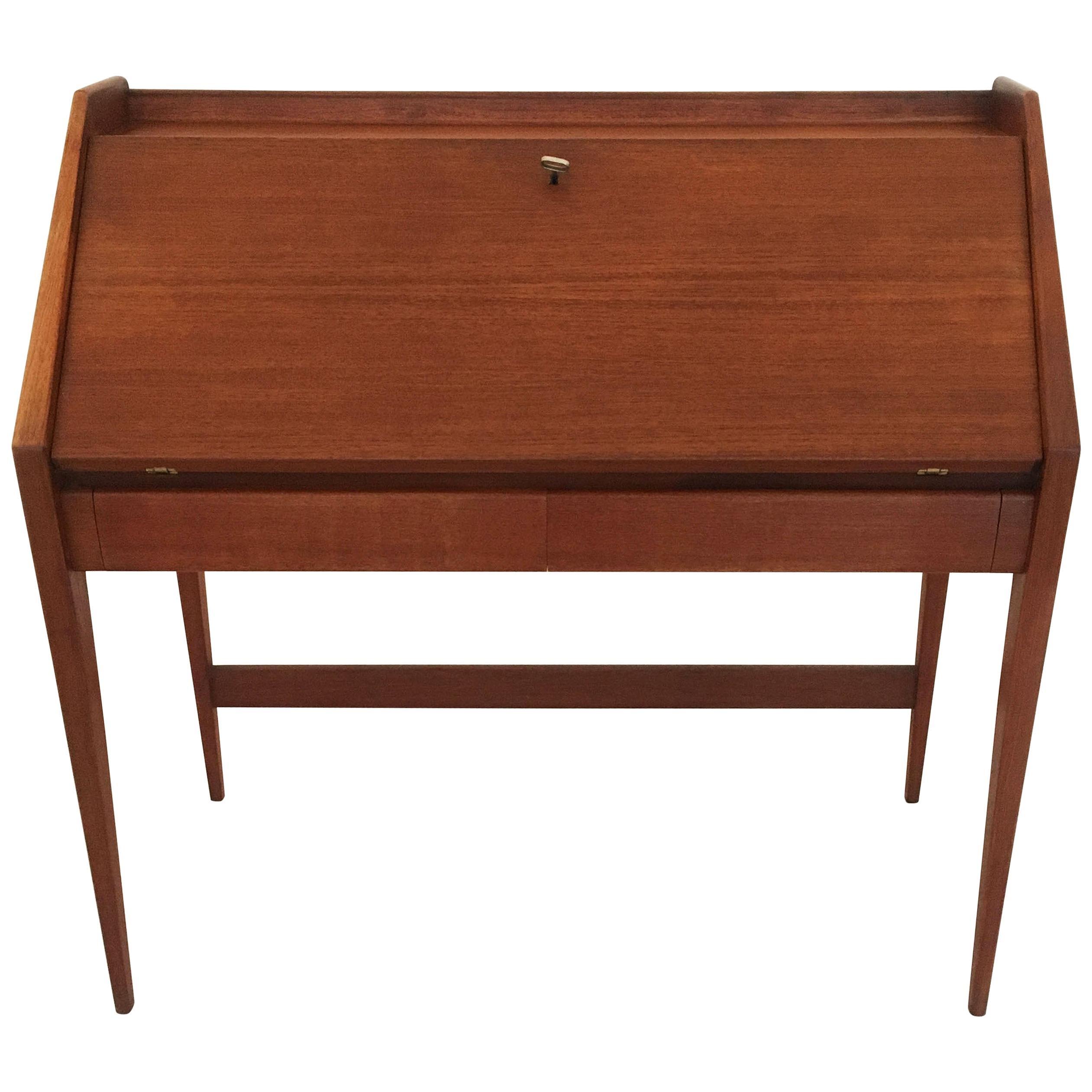 Mid-Century Modern Teak Desk, Writing Table by Walter Wirz for Wilhelm Renz