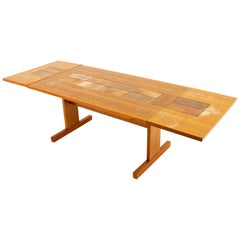 Mid-Century Modern Teak Dining Table with Tile Inlay
