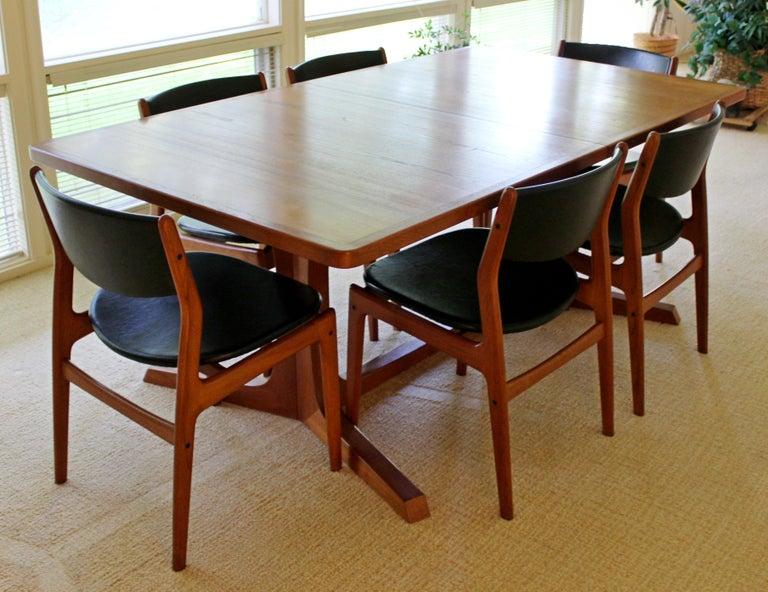midcentury modern teak expandable dining set table 2