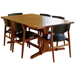 Mid-Century Modern Teak Expandable Dining Set Table, 2 Leaves, 6 Chairs Danish