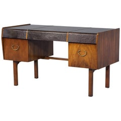 Mid-Century Modern Teak Leather Top Desk by John Widdicomb