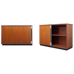 Mid-Century Modern Teak Office Cabinets with Tambour Doors