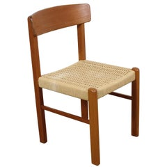 Mid-Century Danish Modern Teak Rope Woven Seat Side or Desk Chair