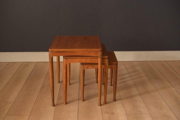 Scandinavian Modern Mid-Century Modern Teak Set of Nesting Tables For Sale