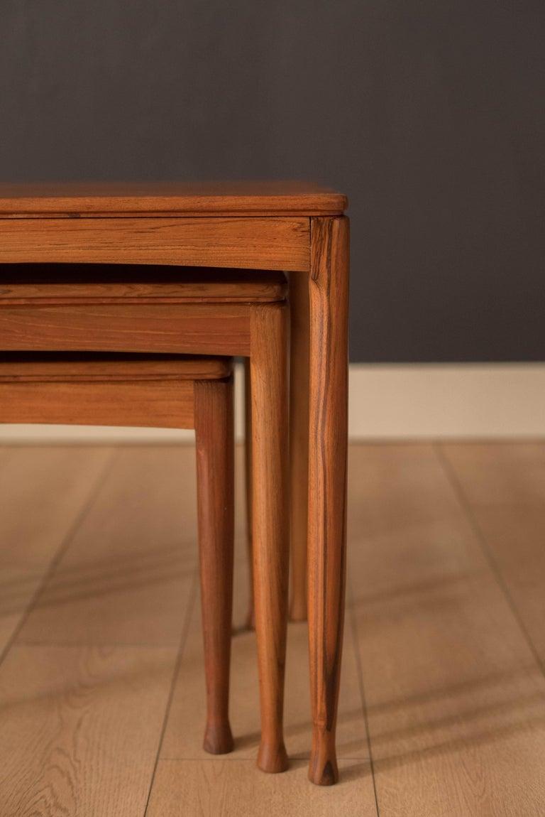 Mid-20th Century Mid-Century Modern Teak Set of Nesting Tables For Sale