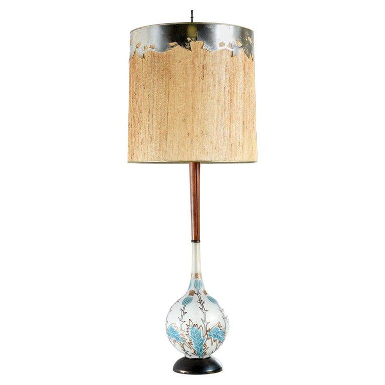 Mid-Century Modern Teak Stem Art Glass Globe Table Lamp For Sale