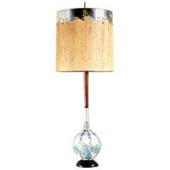 Mid-Century Modern Teak Stem Art Glass Globe Table Lamp