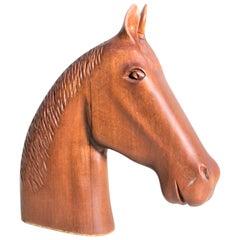 Mid-Century Modern Teak Stylized Horse Head Sculpture
