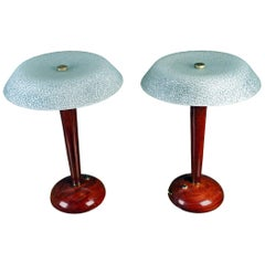 Mid-Century Modern Teak Table Lamps with Frosted Shade