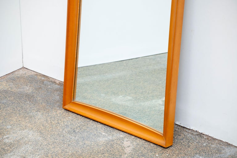 Mid-Century Modern Teak Wall Mirror Full Length, 1960s In Good Condition For Sale In Gemmerich, DE