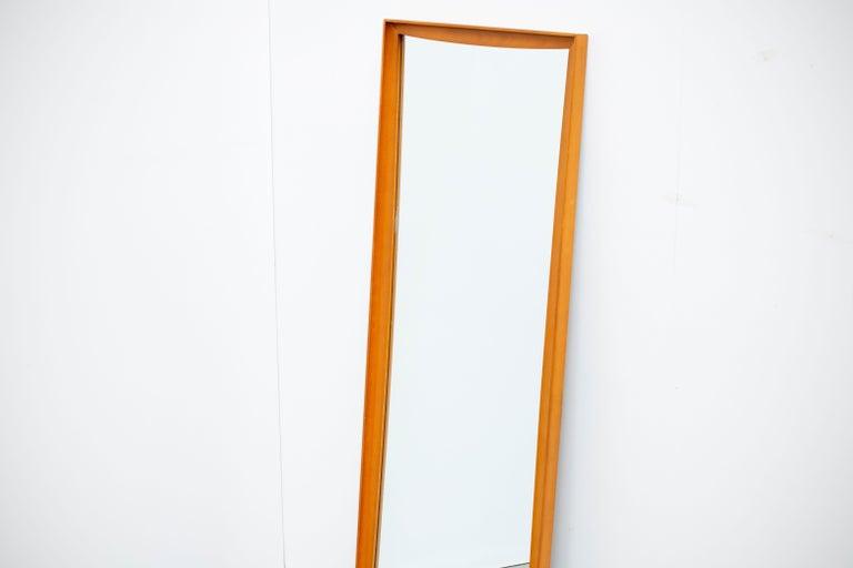 20th Century Mid-Century Modern Teak Wall Mirror Full Length, 1960s For Sale