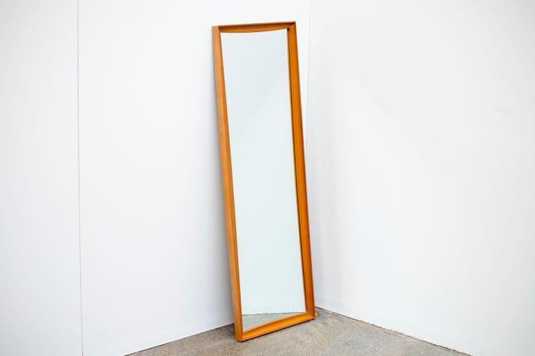 Wood Mid-Century Modern Teak Wall Mirror Full Length, 1960s For Sale