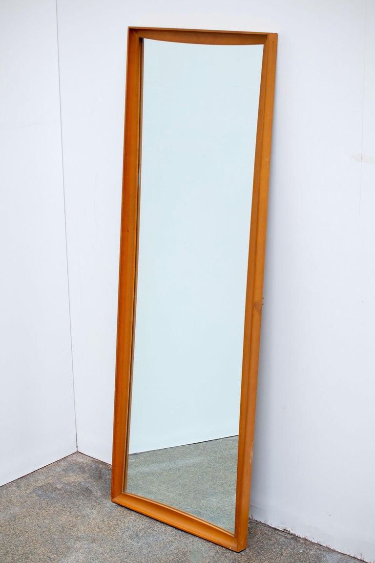 Mid-Century Modern Teak Wall Mirror Full Length, 1960s For Sale 1