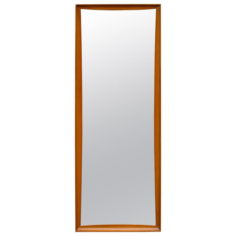 Mid-Century Modern Teak Wall Mirror Full Length, 1960s For Sale