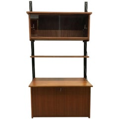 Mid-Century Modern Teak Wall Unit with Dry Bar