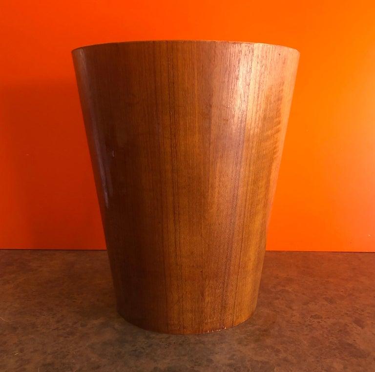 Scandinavian Mid-Century Modern Teak Waste Basket by Martin Aberg for Servex Rainbow
