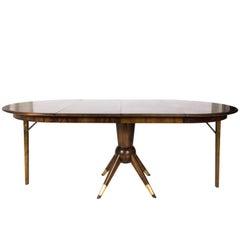 Mid-Century Modern Teak Wood Adjustable Oval / Round Dining Table