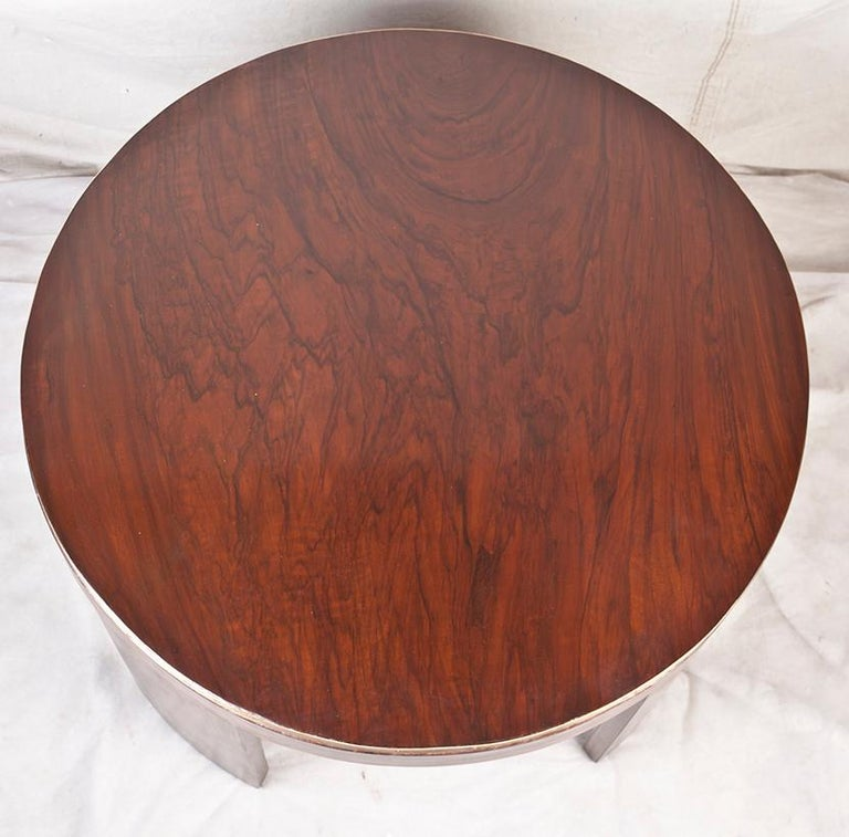 European Mid-Century Modern Teak Wood Coffee or Drinks Table with Brass Border For Sale